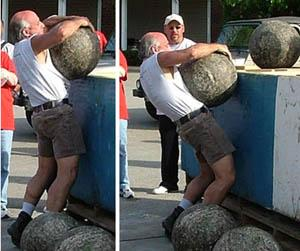 Vince Gazzara - 208 stone to 50 inches, 225 stone - not quite  at Xenia Strongman May 2006