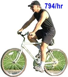 Cycling  4 minute miles- 794 calories per hour